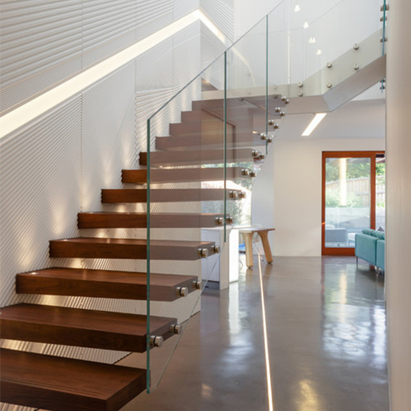 Modern Floating Staircase Indoor Wooden Design With Stainless Steel Carbon Metal Invisible Stringer