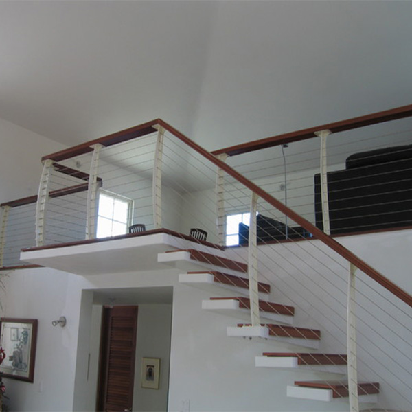 Residential/Commercial Prefabricated Modern Metal Rod/Cable Railing Wooden  Stairs Treads Floating Staircase Design