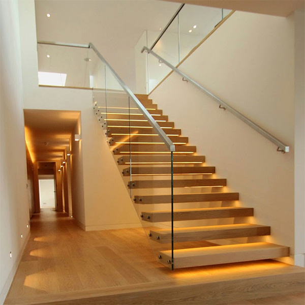 Attrayant Highly Cost Effective Floating Staircase Design With 316/304 Stainless  Steel Standoff Frameless Glass Railing Prefabricated