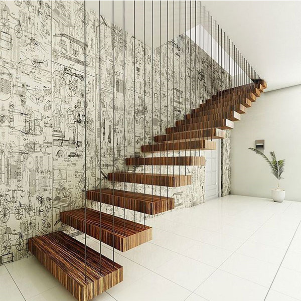 New Por Style Wood Stair Treads Floating Staircase Design Prefabricated Iron Grill Railing