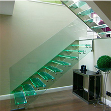 Prevailing Prefabricated Invisible Stringer Floating Staircase With Whole Safety Glass Design