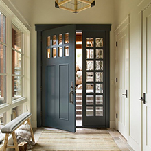 Customized solid wood exterior door with tempered glass