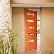 Single swing glass wood door