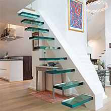 Professional Design China Supplier Safety Glass Floating Stainless Solid wood Stairs Treads