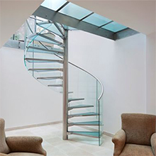 American Hot Sale Prefabricated Clear Tinted Laminated Tempered Glass Spiral Stairs Design